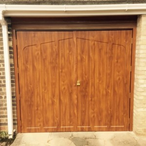 side hinged golden oak garage door