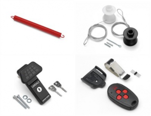 Garage door handle, garage door spring, garage door cables, garage door remotes
