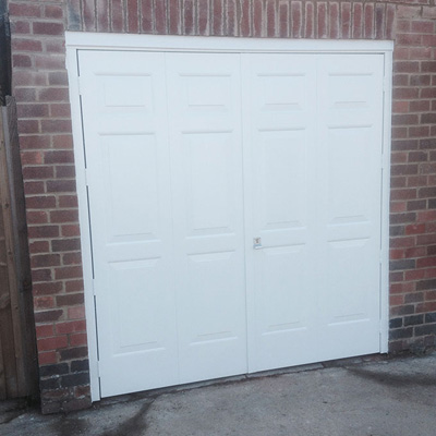 Cardale steel side hinged garage door in white elite gd Garage with doors on both sides