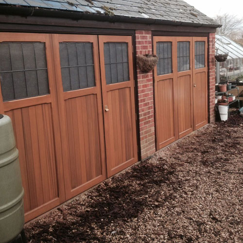 Cardale timber side hinged garage doors with windows Garage with doors on both sides