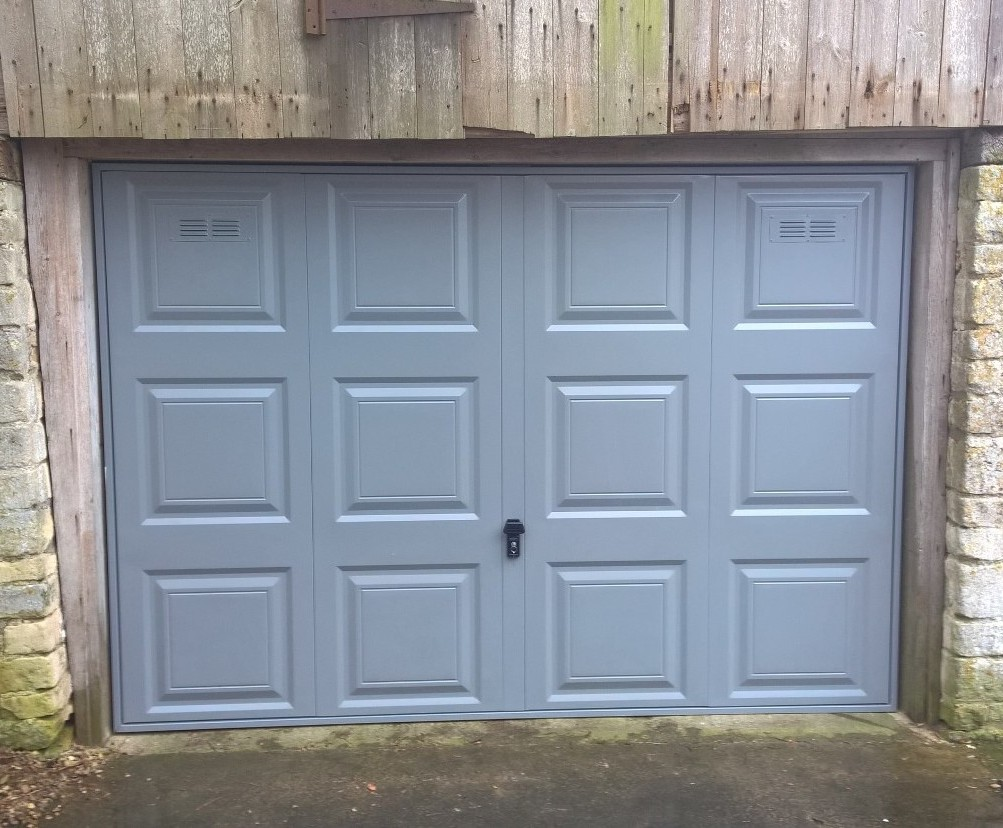 Cardale Novoferm Steel Georgian Garage Door In Dusty Grey With Air