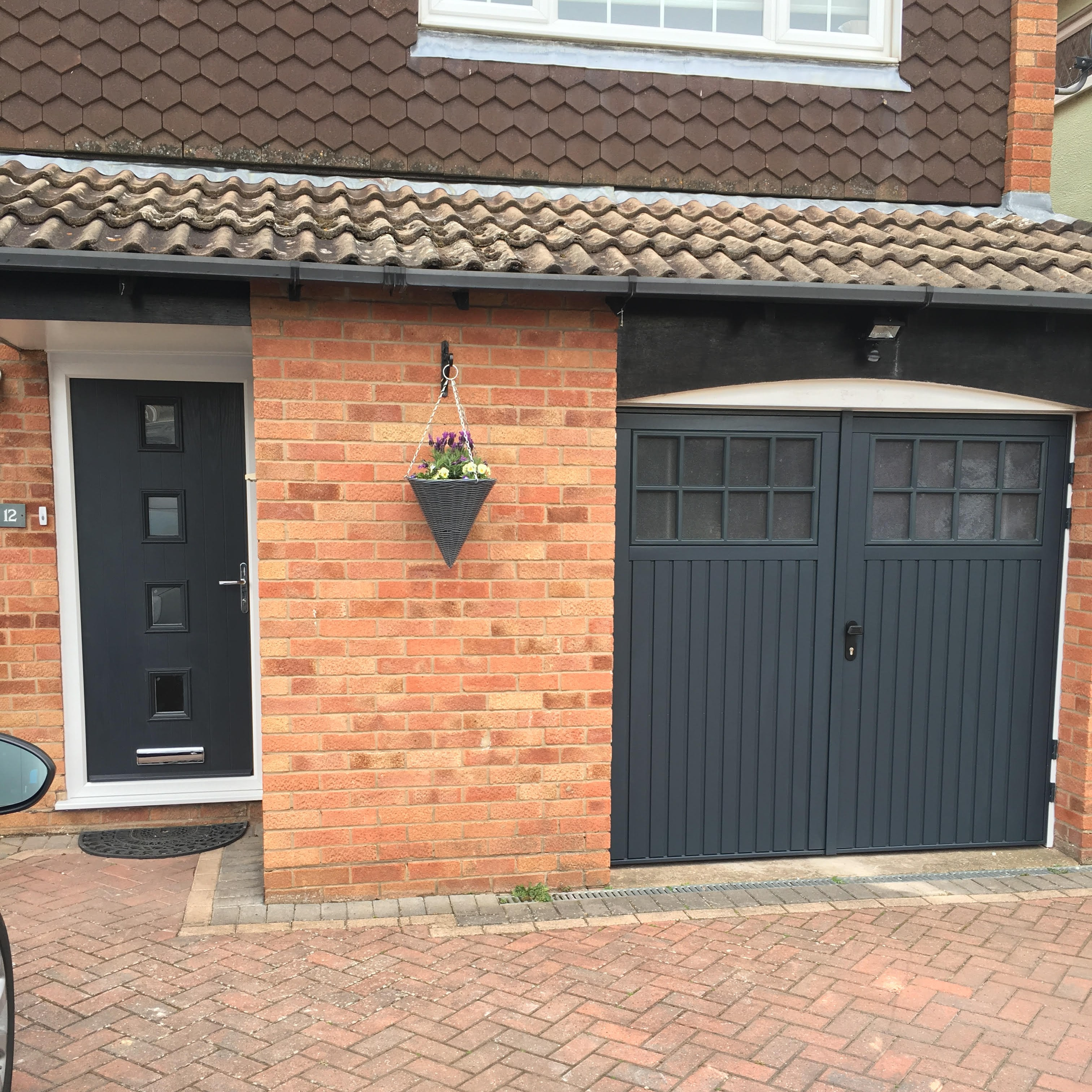 Matching bedford side hinged and front door in anthracite for Garage side door and frame