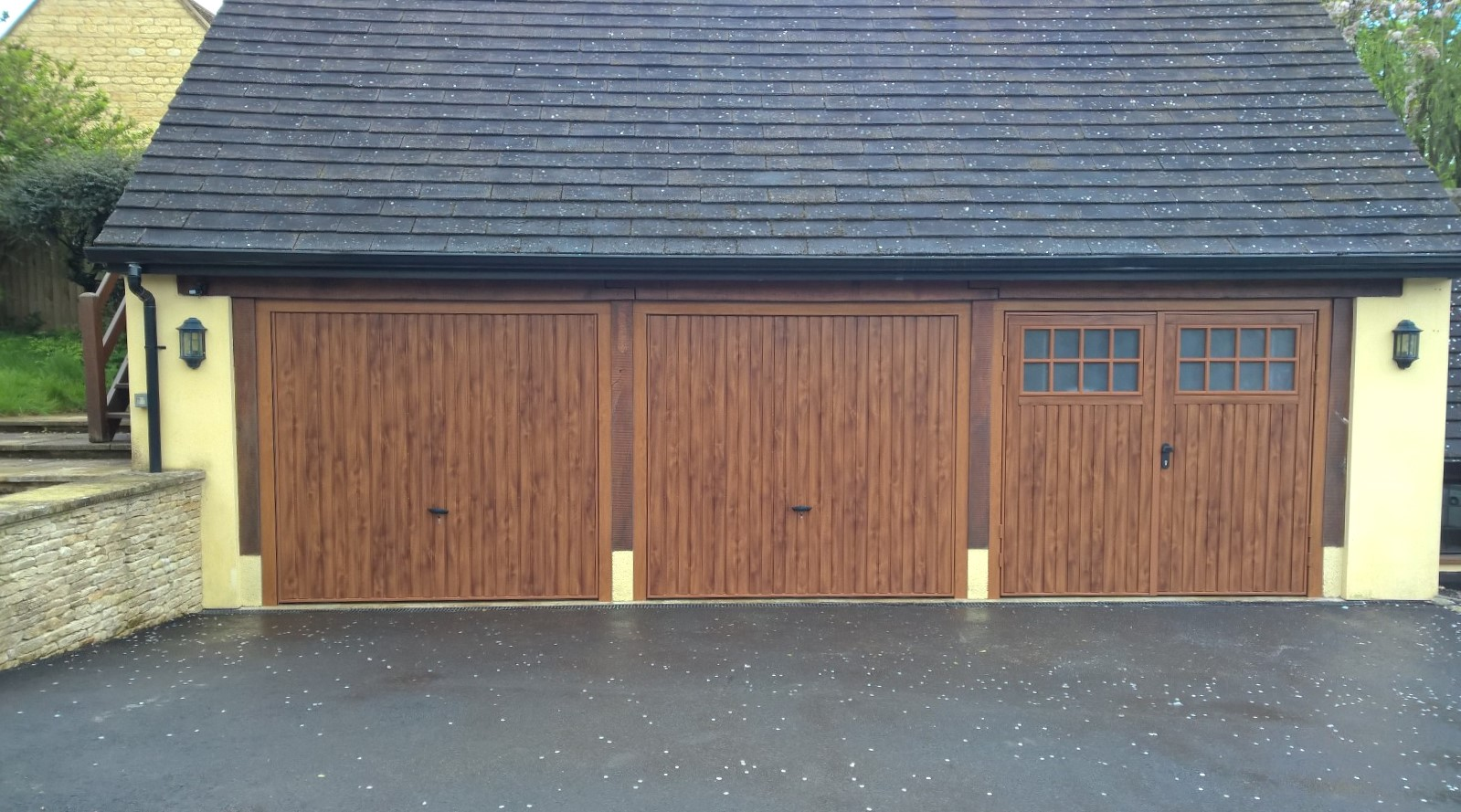 889 #A3A922 Trio / Triple Bay Golden Oak Garage Doors picture/photo Oak Garage Doors 38491599