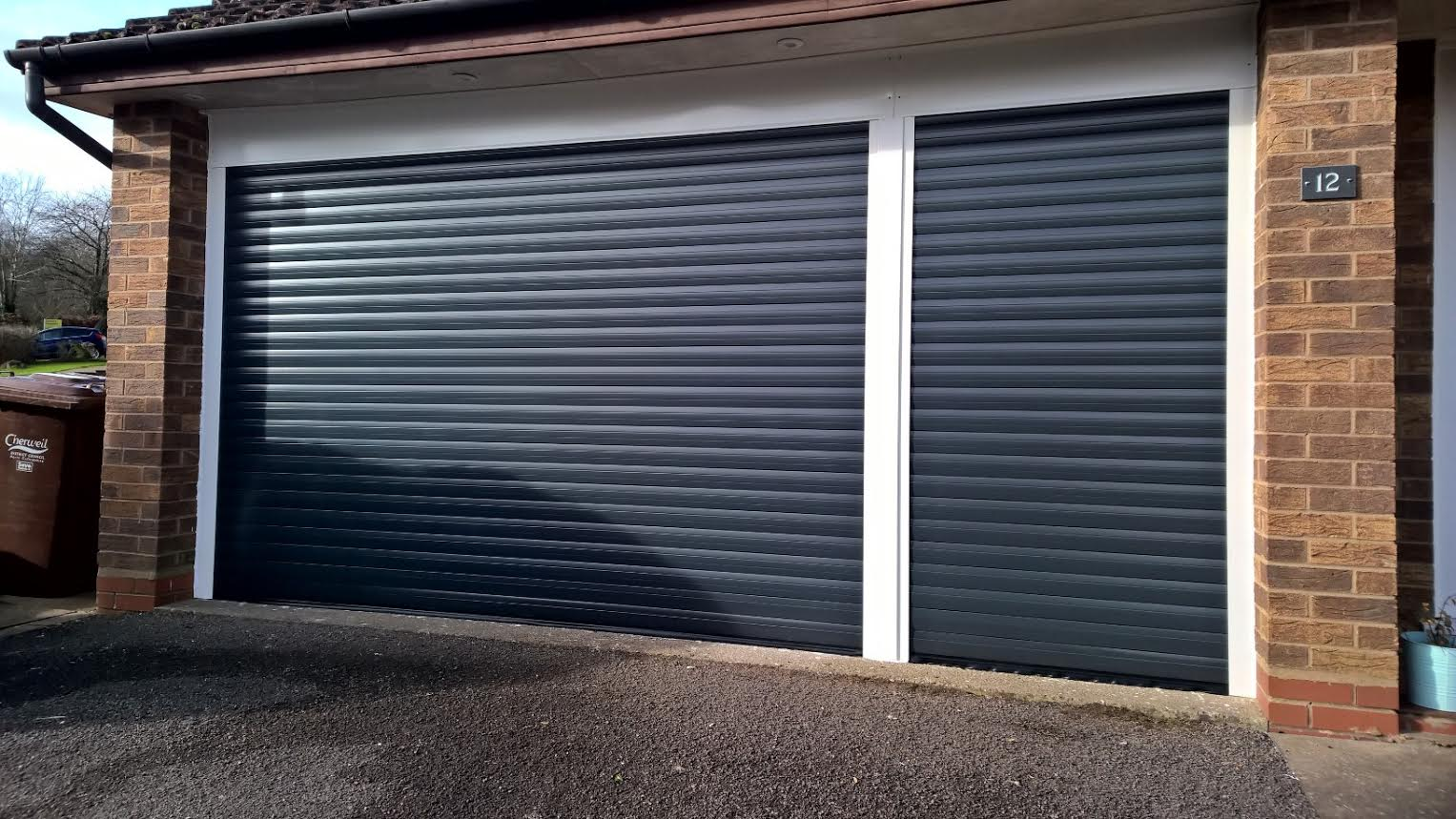 Pair Of 77 Automated Insulated Roller Garage Doors In Anthracite