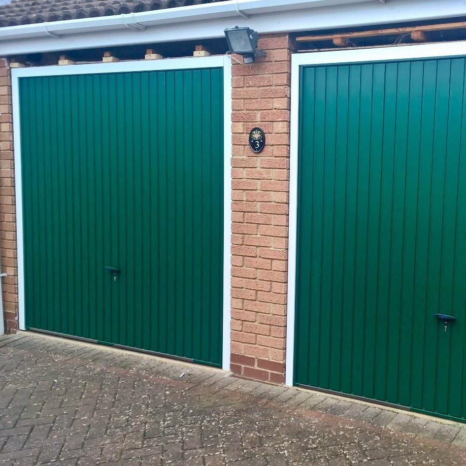 Pair Of Steel Balmoral Green Up And Over Garage Doors