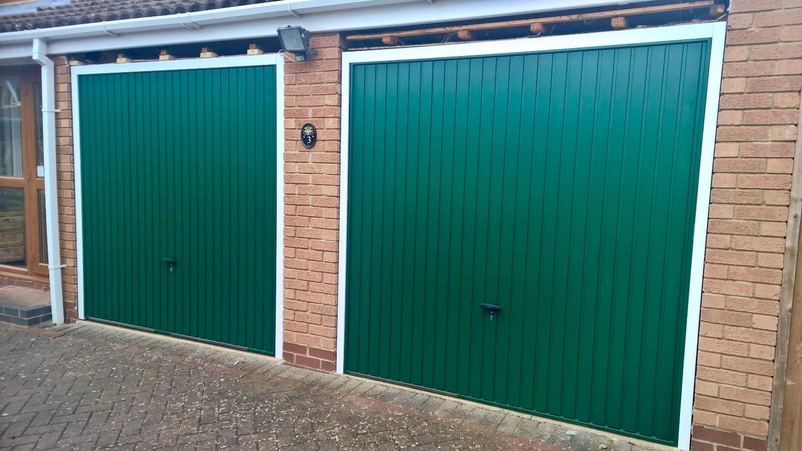 Pair Of Steel Balmoral Green Up And Over Garage Doors Elite Gd