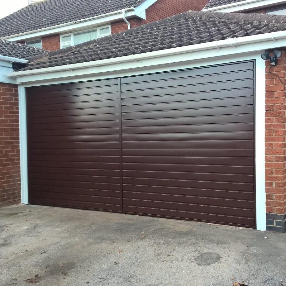 conker brown double garage door