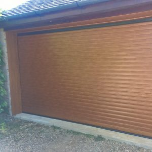 golden oak double roller garage door