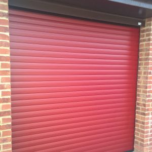 red laminate roller door