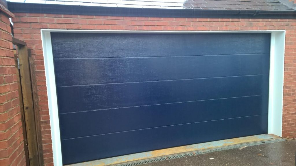 blue insulated garage door