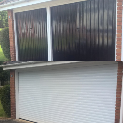 Conversion from two single doors to one double garage door for Convert two door garage into one