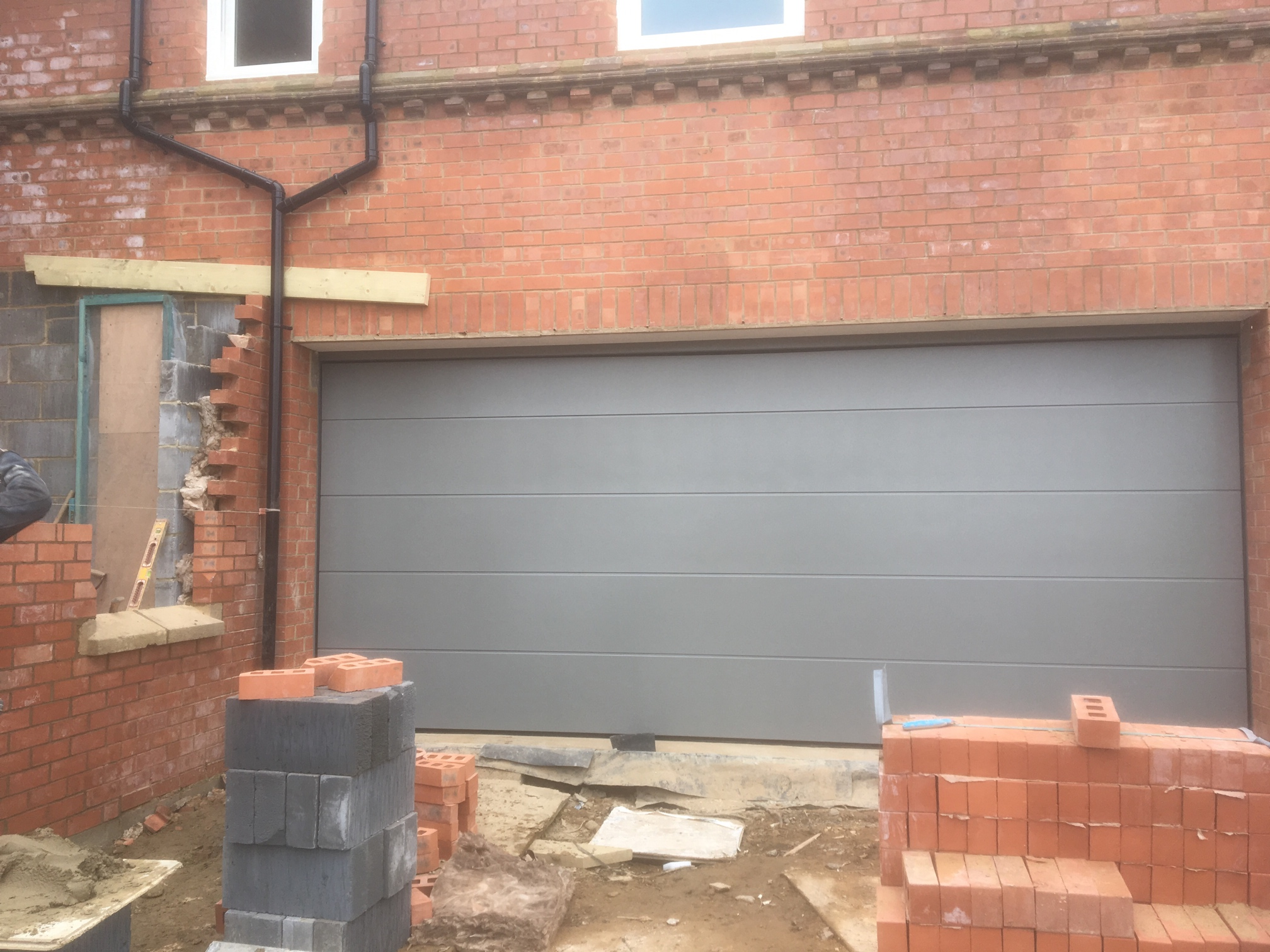 Insulated Sectional Garage Door In Grey Aluminium Ral 9007