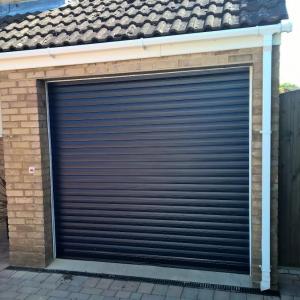 blue roller garage door