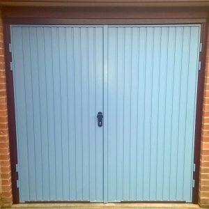 pastel blue garage door
