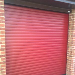 red laminate roller door