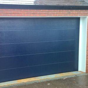 blue insulated garage door